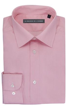 chemise demi-mesure rose à fines rayures