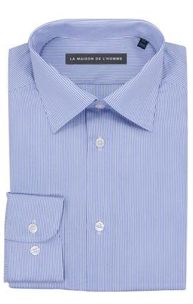 chemise demi-mesure bleu fines rayures