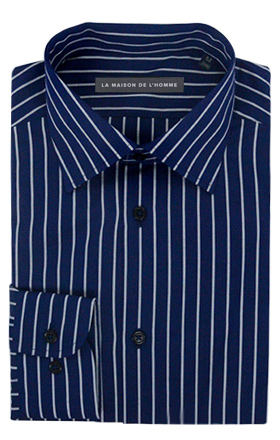 chemise demi-mesure bleu foncé rayures