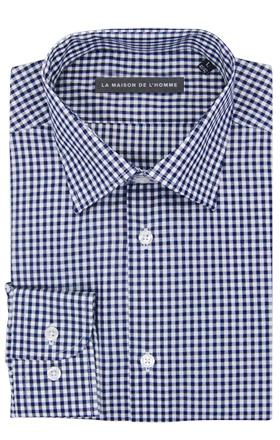 chemise demi-mesure bleu à carreaux
