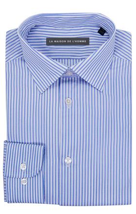 chemise demi-mesure bleu clair rayures