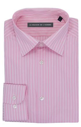 chemise demi-mesure rose rayures