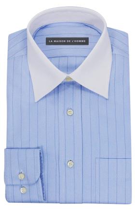 chemise demi-mesure bicolore blanc/bleu