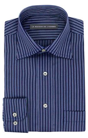 chemise demi-mesure bleu rayure ton sur ton
