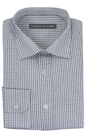 chemise demi-mesure blanc carreaux