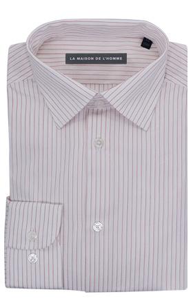 chemise demi-mesure blanc rayée