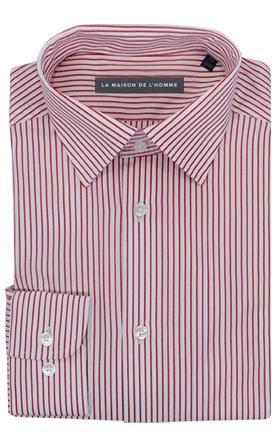 chemise demi-mesure blanche rayures rouge