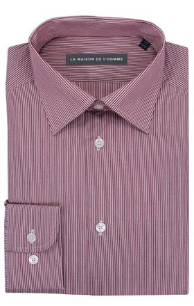 chemise demi-mesure rouge rayure fine