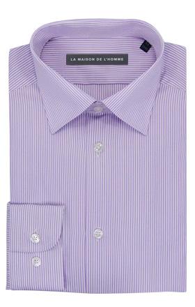 chemise demi-mesure violet fines rayures