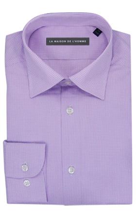 chemise demi-mesure violet carreaux