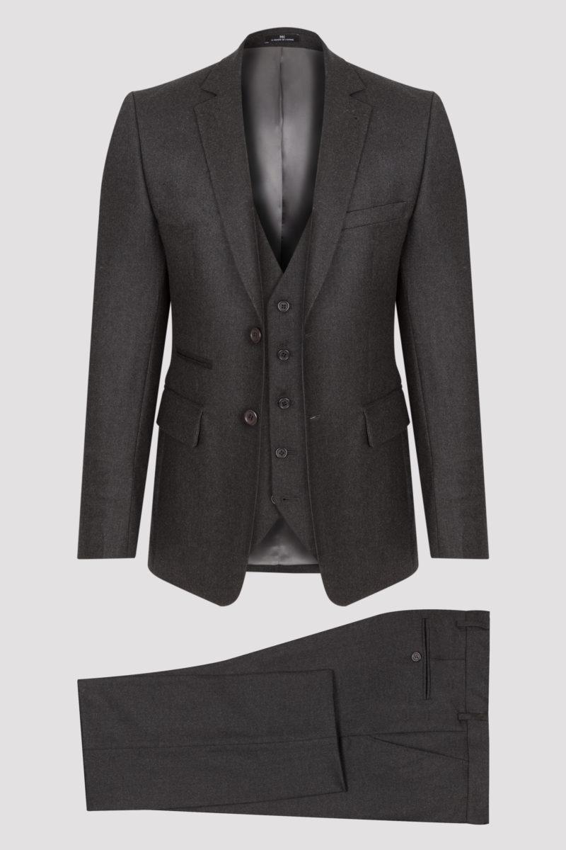 Costume 3 pièces gris anthracite en flanelle de laine