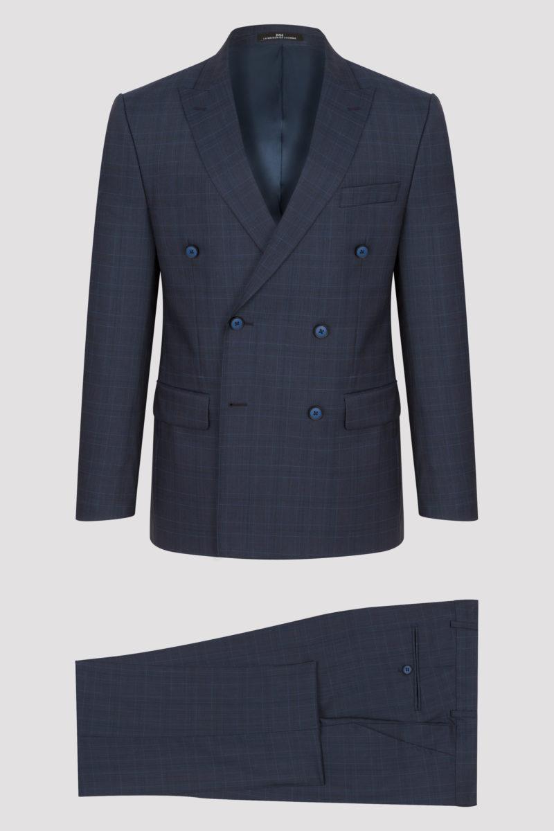 Costume croisé bleu marine à fins carreaux en pure laine