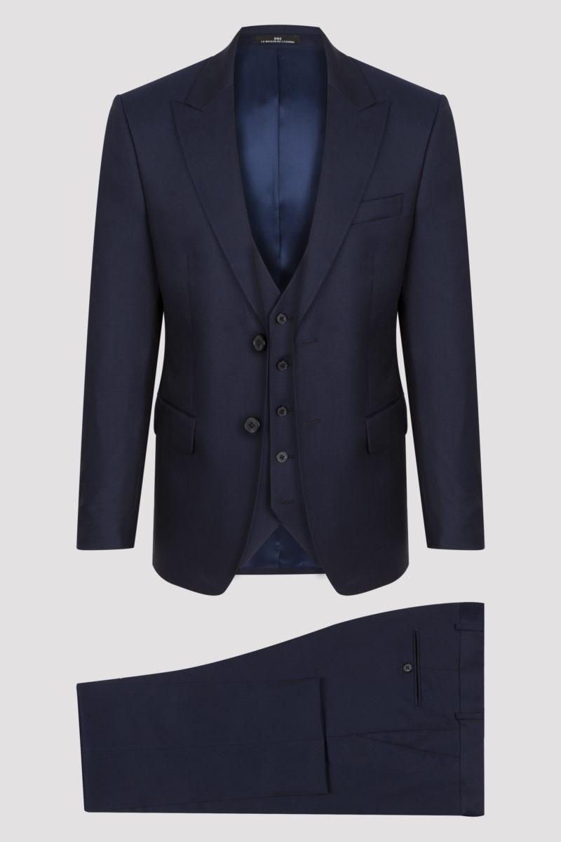Costume 3 pièces bleu Klein uni en pure laine