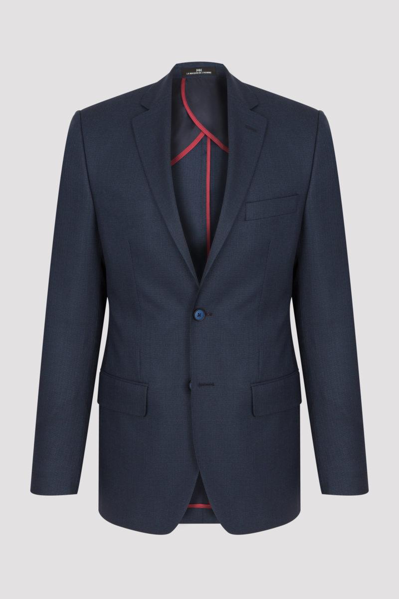 Veste mi-doublée bleu marine en armuré uni laine et lin