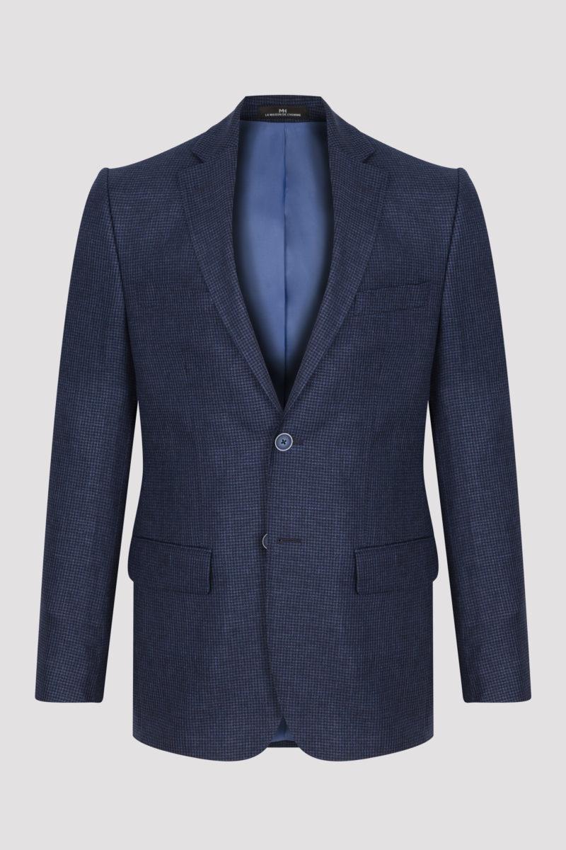Veste bleue marine à carreaux fondus en laine et lin