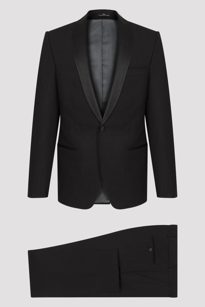 Smoking 2 pièces noir col châle micro dessin en pure laine vierge