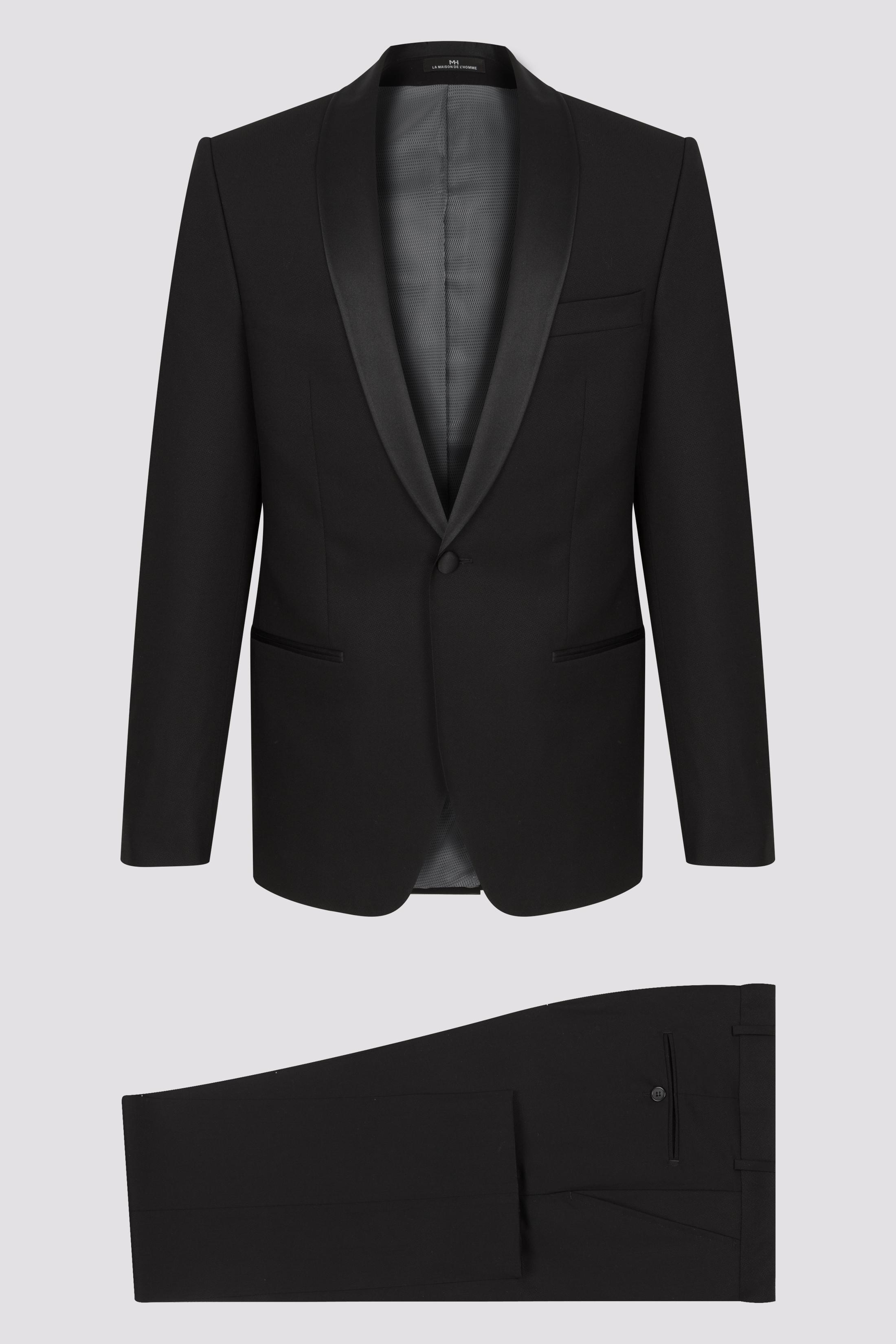 4635aae3c26ef Smoking col châle noir pure laine super 130 - LA MAISON DE L'HOMME ...