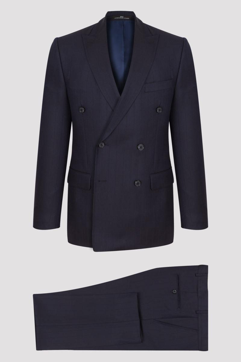 Costume croisé 2 pièces bleu marine à fines rayures verticales en pure laine