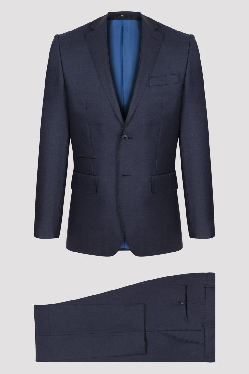 Costume 2 pièces bleu uni en pure laine