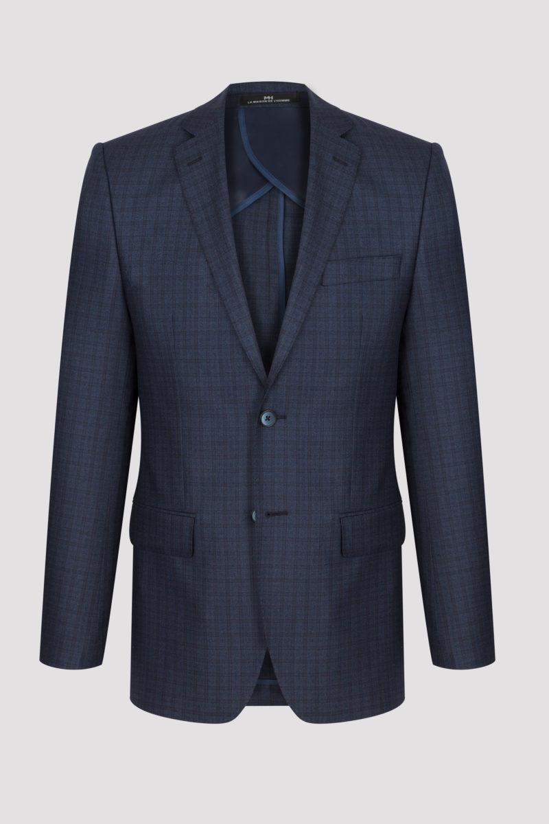 Veste mi-doublée bleue nuit à carreaux fins en laine et soie