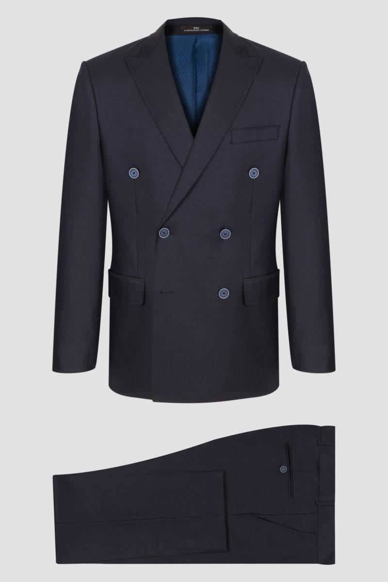 Costume croisé 2 pièces bleu marine uni en pure laine