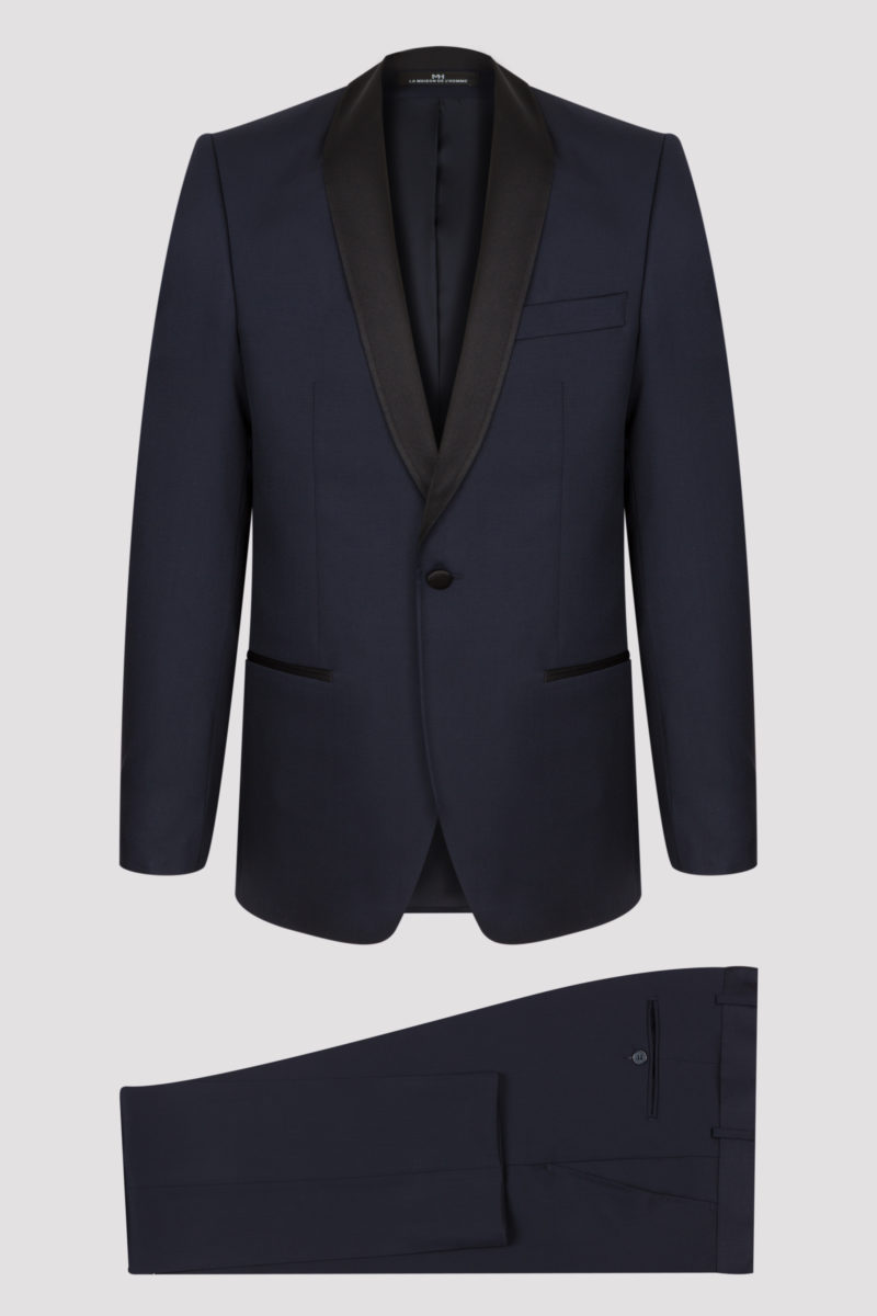 Smoking bleu marine uni col châle en pure laine vierge