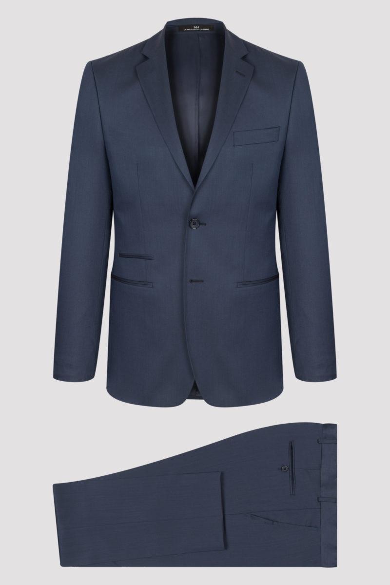 Costume 2 pièces bleu uni pure laine