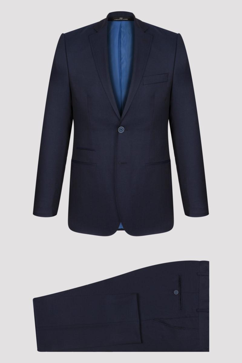 Costume 2 pièces bleu nuit à micro dessin en pure laine
