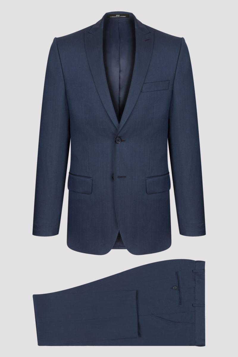 Costume 2 pièces fil-à-fil bleu cobalt en pure laine