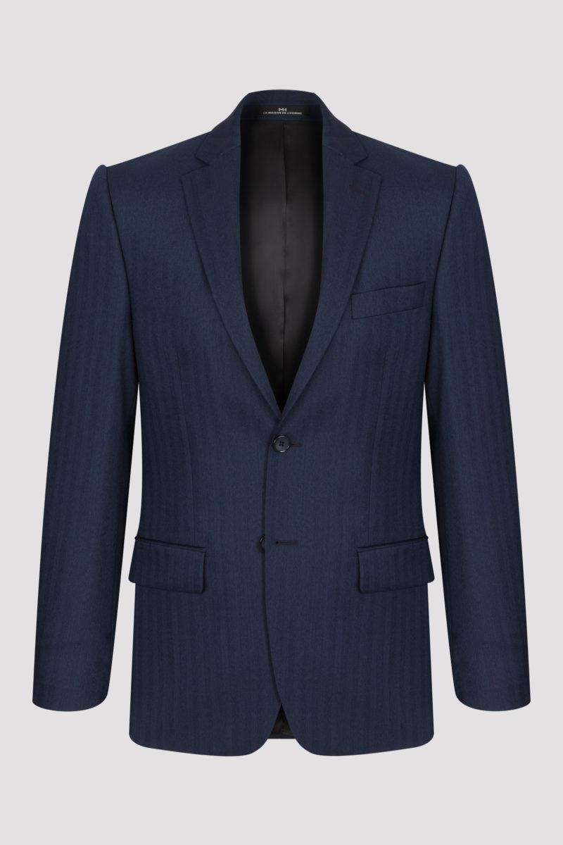 Veste bleue nuit à motifs chevrons en pure laine super 130