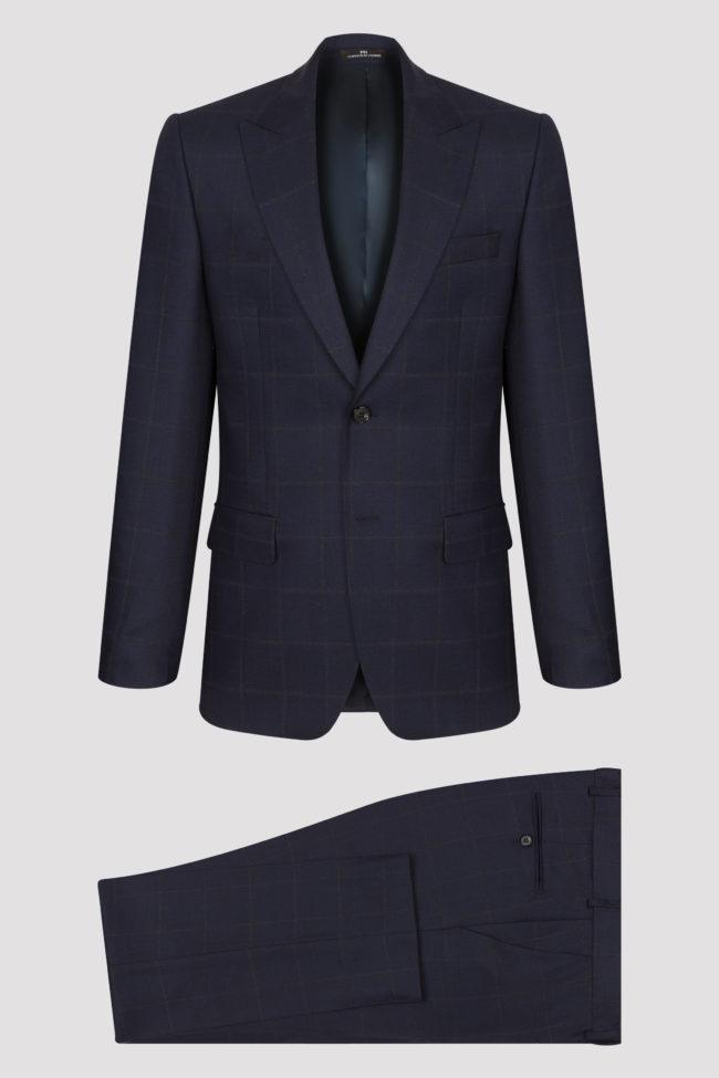 Costume 2 pièces bleu marine grands carreaux en pure laine