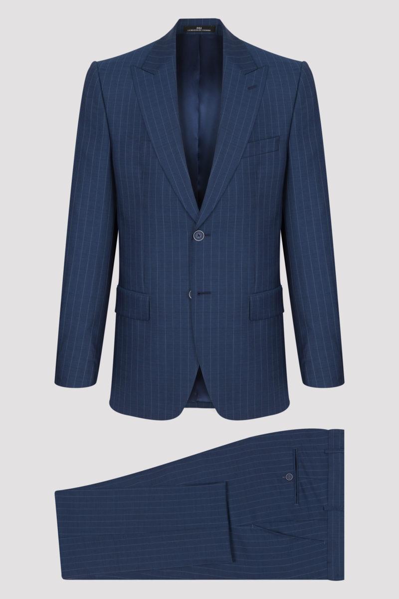 Costume bleu à fines rayures claires en pure laine