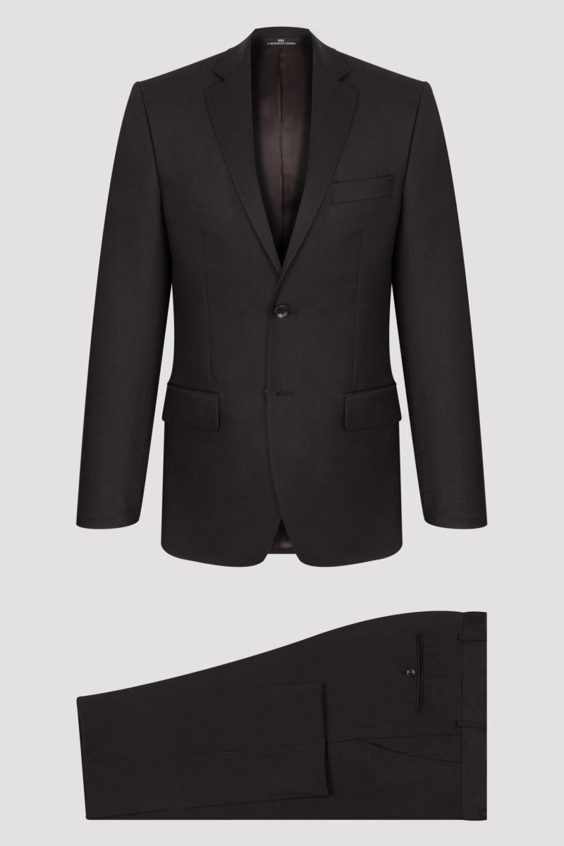Costume noir uni en pure laine