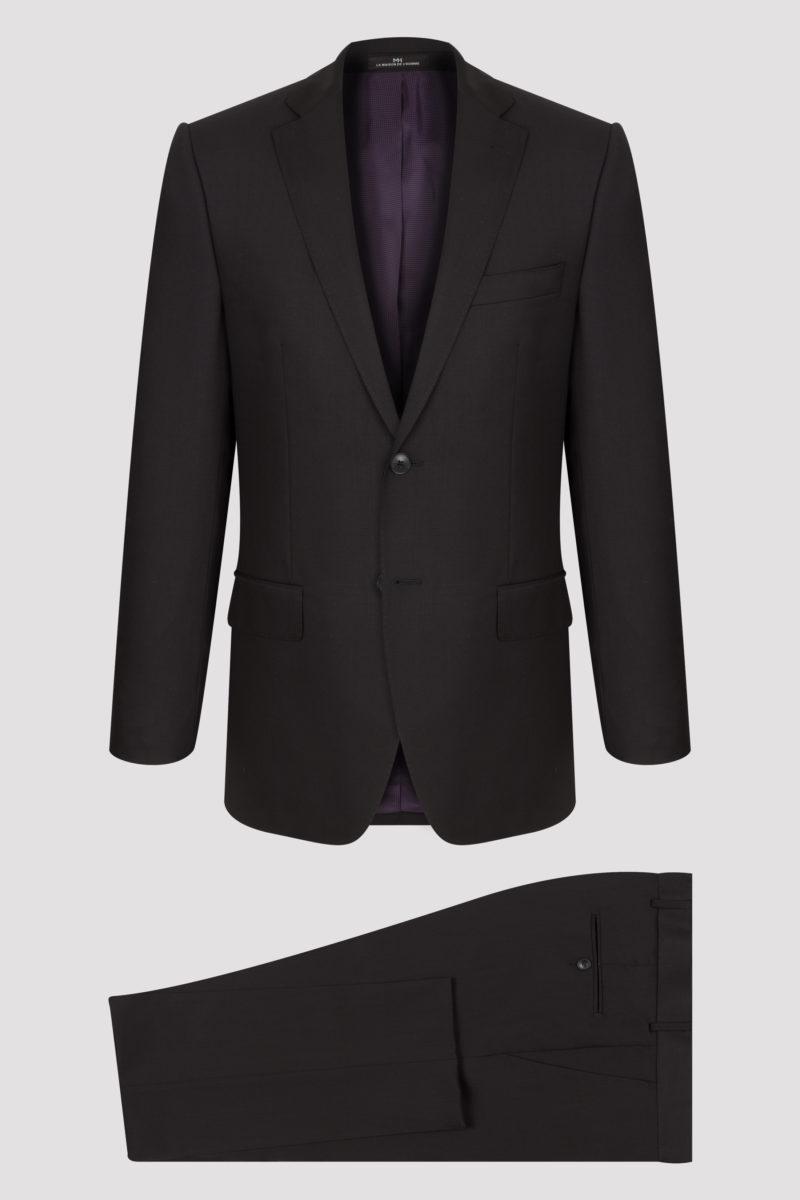 Costume noir uni en pure laine, tissu Lanificio Cerruti