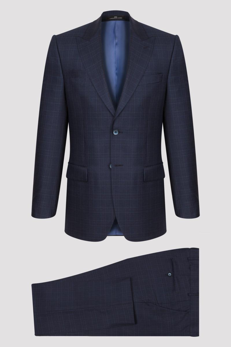 Costume bleu marine à carreaux fins en pure laine
