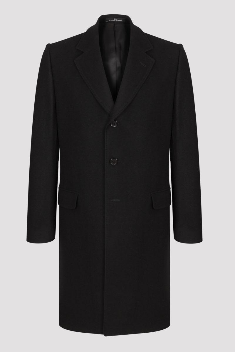 Manteau long col tailleur laine et cachemire